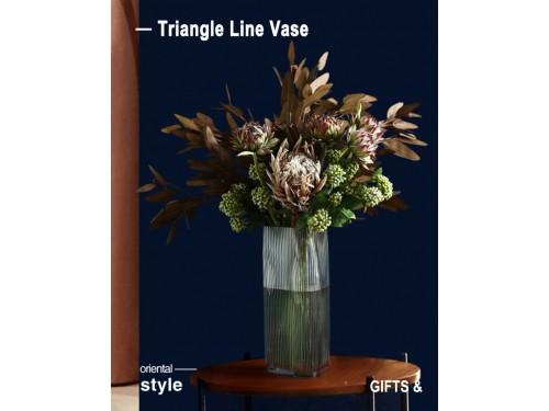 Nordic Vase Large Triangle Line Vase Design Clear Color 15cm X 28cm Height