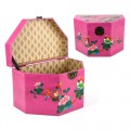 Half Hexagon Shape Hamper Box in Fuschia Color with Bird Paradise Design.