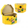 Half Hexagon Shape Hamper Box in Mustard Color with Bird Paradise Design.