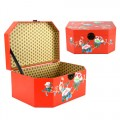 Half Hexagon Shape Hamper Box in Red Color with Bird Paradise Design.