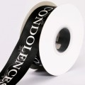Condolences Satin Ribbon.  Color - Black.  Size: 38mm x 20m Spool.