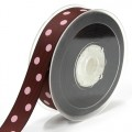 Grosgain Printed Ribbon - 22mm.  Color #868/123 - Cappuccino-Pearl Pink.  Length:  20 Yards Spool