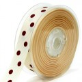 Grosgain Printed Ribbon - 22mm.  Color #815/789 - Cream-Sherry.  Length:  20 Yards Spool
