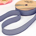 Printed Satin Ribbon in Stripe Design.  Color: Navy Blue.  28mm x 25yds.