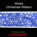 Wired Christmas Ribbon - Color: #022C Blue with Silver Snow Flakes.  Size:  63mm x 10yds.