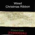Wired Christmas Ribbon - Color: #024J Gold Line.  Size:  63mm x 10yds Roll