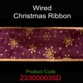 Wired Christmas Ribbon - Color: #035D Maroon with Snow Flake.  Size:  63mm x 10yds Roll