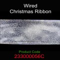 Wired Christmas Ribbon - Color: #056C Silver Dot.  Size:  63mm x 10yds Roll