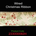 Wired Christmas Ribbon - Color: #103E Gold with Green Holy Leaves & Red Berry.  Size:  63mm x 10yds Roll