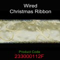 Wired Christmas Ribbon - Color: #112F Gold with Snowman.  Size:  63mm x 10yds Roll