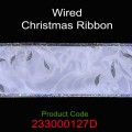 Wired Christmas Ribbon - Color: #127D White with Cream Vine Design.  Size:  63mm x 10yds Roll