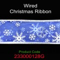 Wired Christmas Ribbon - Color: #128G Blue with Silver Snow Design.  Size:  63mm x 10yds Roll