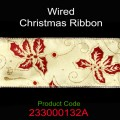Wired Christmas Ribbon - Color: #132A Gold with Red Ivy Leaves.  Size:  63mm x 10yds Roll