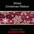 Wired Christmas Ribbon - Color: #160E Maroon Gold Snow Flake.  Size:  63mm x 10yds Roll