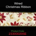 Wired Christmas Ribbon - Color: #205E Gold with Red Pointsettia.  Size:  63mm x 10yds Roll