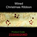 Wired Christmas Ribbon - Color: #208D Gold with Cream Ivy & Red Berries.  Size:  63mm x 10yds Roll