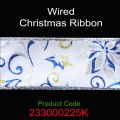 Wired Christmas Ribbon - Color: #225K White with Blue/Silver Pointsettia.  Size:  63mm x 10yds Roll