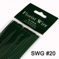 Florist Wire -  Green Lacquered Wire.  Size 0.9mm x 40cm (SWG Guage: Approx. SWG #20)